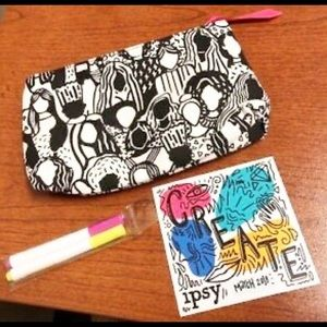 Ipsy Coloring Makeup Bag - Fabric Markers Included